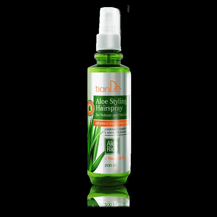 """lakier do stylizacji tiande center - Spray do stylizacji włosów z aloesem """"Objętość i elastyczność"""""""