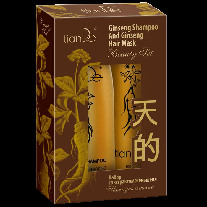 zestaw do wlosow tiande center - Zestaw z ekstraktem z żeń-szenia: szampon i maska do włosów